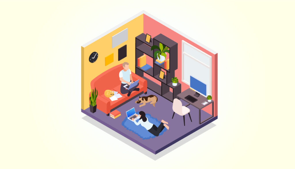 住み込みの仕事のイラスト